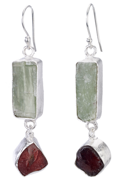 Kyanite Stone and Garnet Drop Earrings