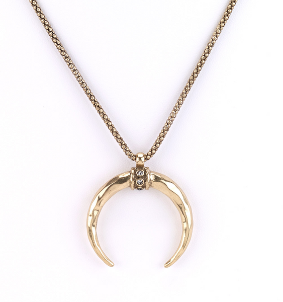 Large Horn Pendant Necklace Gold