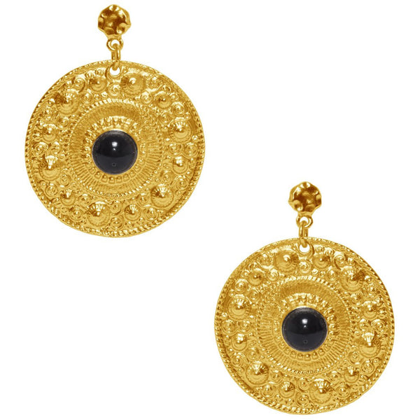 Large Ornamental Coin Earrings gold