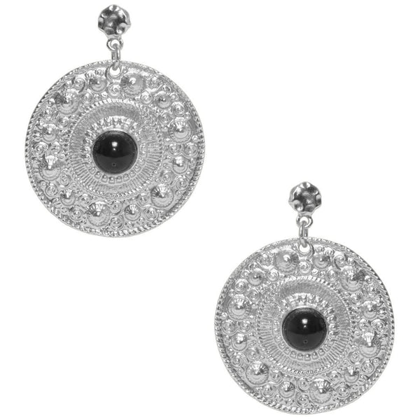 Large Ornamental Coin Earrings silver