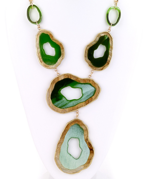 Large Slab Long Necklace green