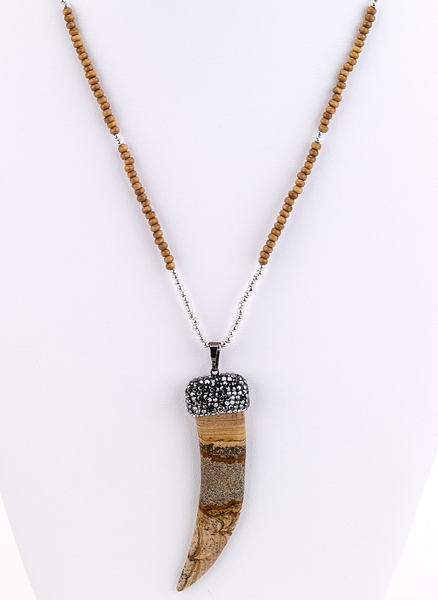 Large Stone Horn Beaded Necklace