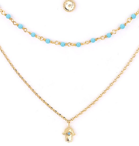 Layered Hamsa and Moon Charm Necklace z