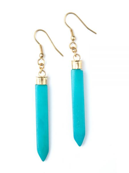 Layered Spike Earrings Turquoise