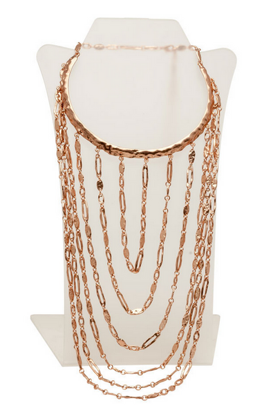 Layered Bib Statement Necklace in Rose Gold