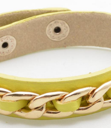 Leather Link Bracelet in Buttercup