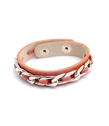 Leather Link Bracelet in Peach Echo