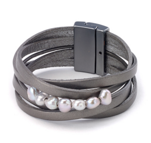 Leather Bracelet with Pearls grey