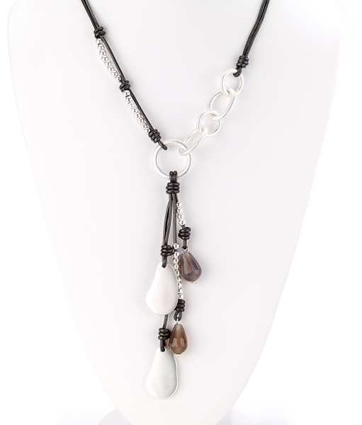 Leather Link Necklace with Charms Tassel silver