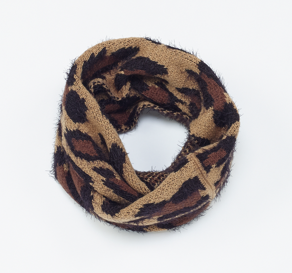 Leopard Knit Infinity Scarf brown