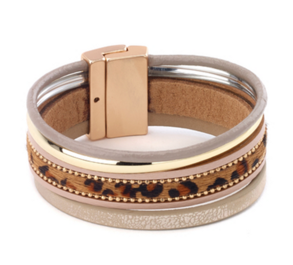 Leopard Print Leather Bracelet taupe