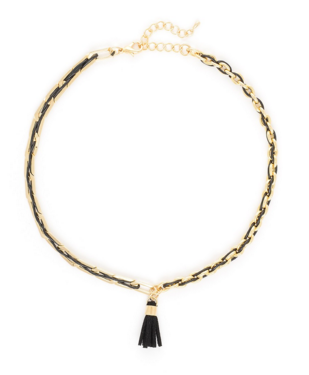 Link Choker Necklace with Tassel