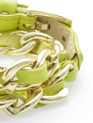 Links and Leather Wrap Bracelet lime c