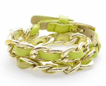 Links and Leather Wrap Bracelet lime
