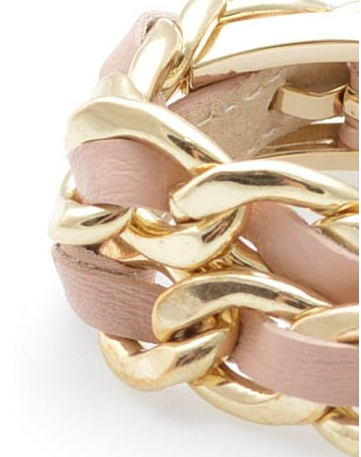 Links and Leather Wrap Bracelet peach c