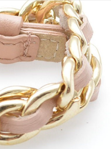 Links and Leather Wrap Bracelet peach s