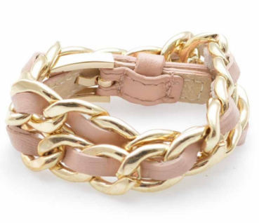 Links and Leather Wrap Bracelet peach