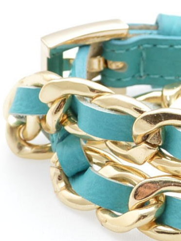 Links and Leather Wrap Bracelet turquoise