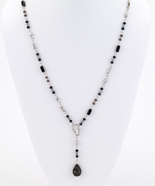 Long Beaded Lariat Necklace black