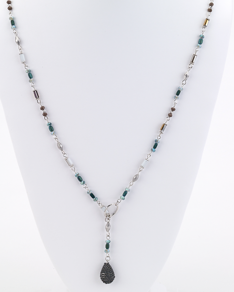 Long Beaded Lariat Necklace green