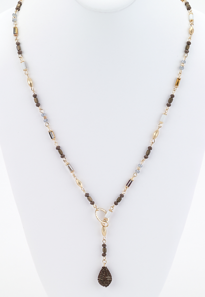 Long Beaded Lariat Necklace brown