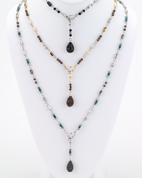 Long Beaded Lariat Necklaces
