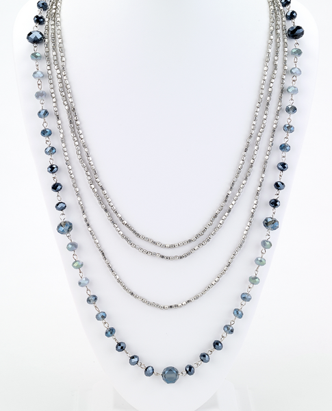 Long Beaded Multi Strand Necklace in Blue