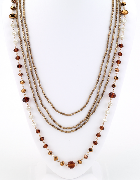 Long Beaded Multi Strand Necklace in Brown