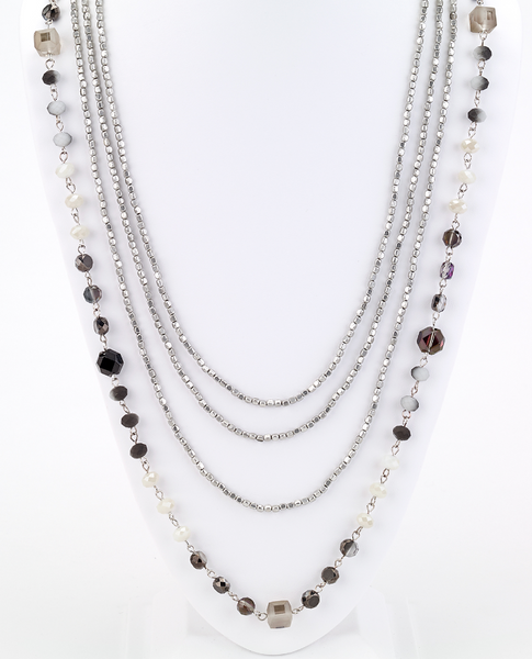 Long Beaded Multi Strand Necklace in Gray