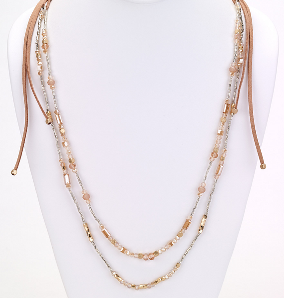 Long Double Beaded Strand Necklace