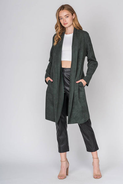Long Suede Trench Coat