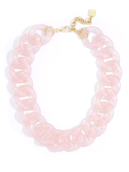Lucite Links Collar Necklace pink