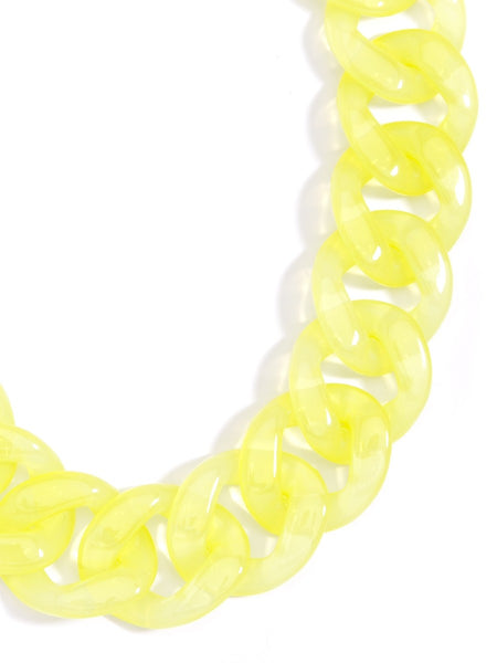 Lucite Links Collar Necklace yellow z