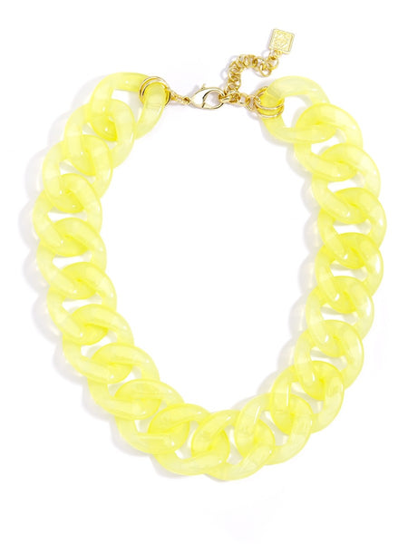 Lucite Links Collar Necklace yellow