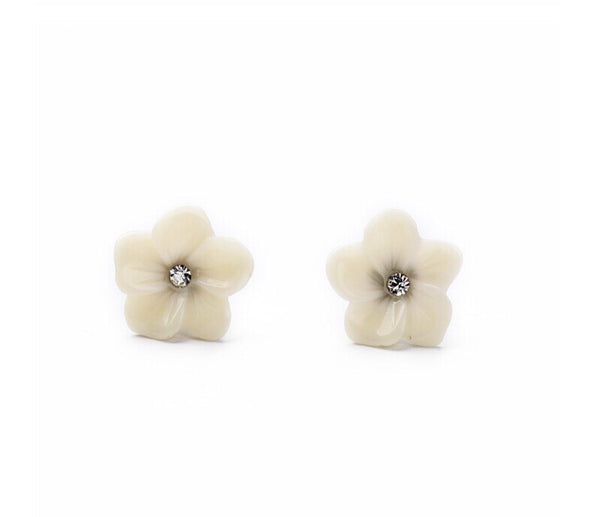 Dainty White Flower Earring Studs