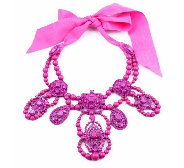 pink red fashion statement necklace