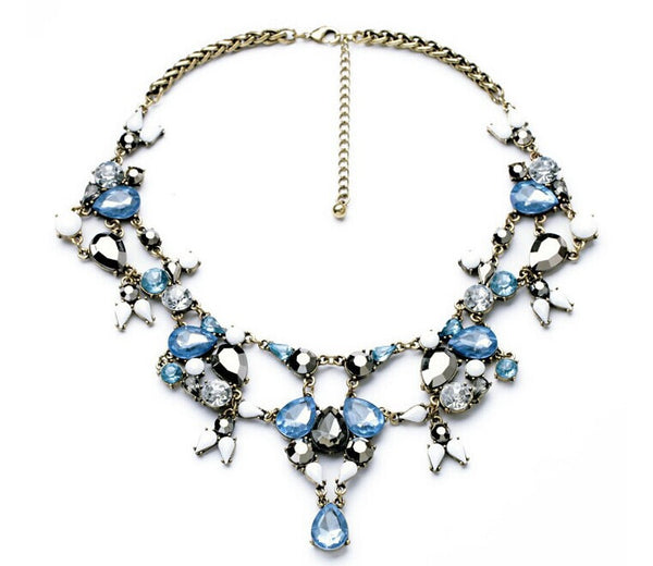 Blue Ice Jeweled Silver Bib - Girl Intuitive