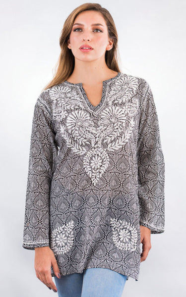 Manali Embroidered Cotton Tunic Top black