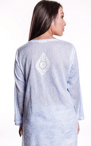 Manali Embroidered Cotton Tunic Top blue