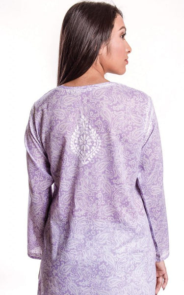 Manali Embroidered Cotton Tunic Top purple back