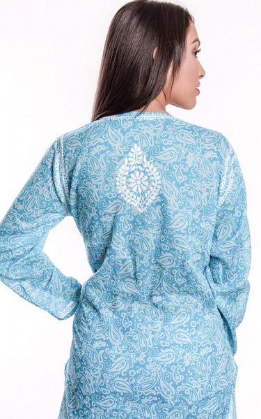 Manali Embroidered Cotton Tunic Top turquoise back