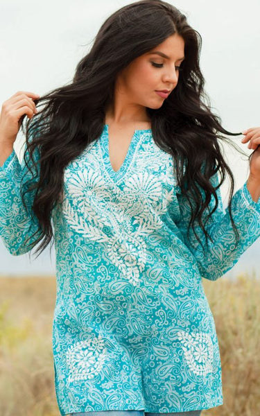 Manali Embroidered Cotton Tunic Top turquoise