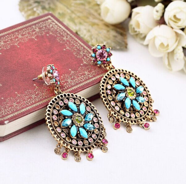 Mandala Glass Drop Earrings