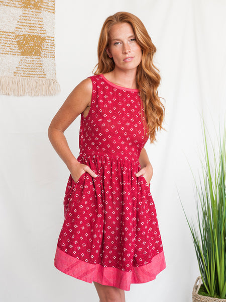Mata Traders Tic Tac Toe Dress Crimson