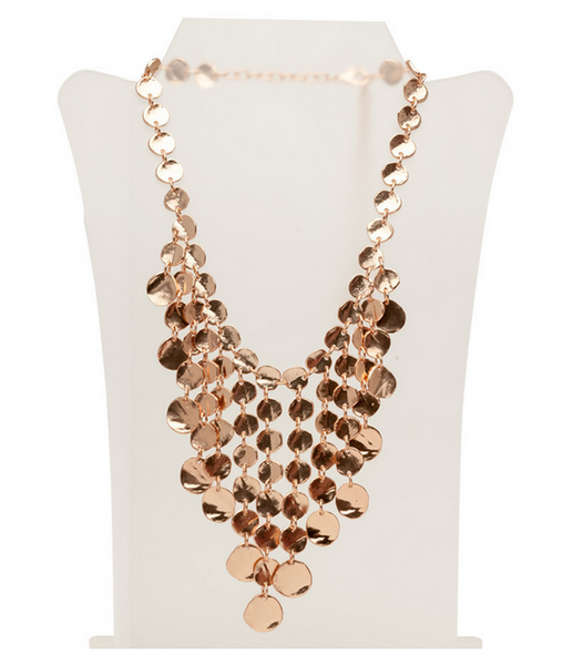 Medallion Discs Bib Necklace in Rose Gold