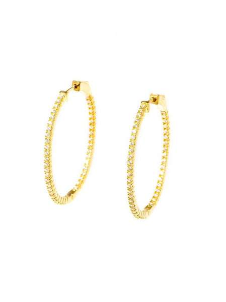 Mini Pave Oval Hoop Earrings gold