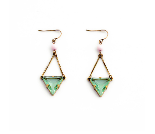 Mint Triangle Drop Earrings