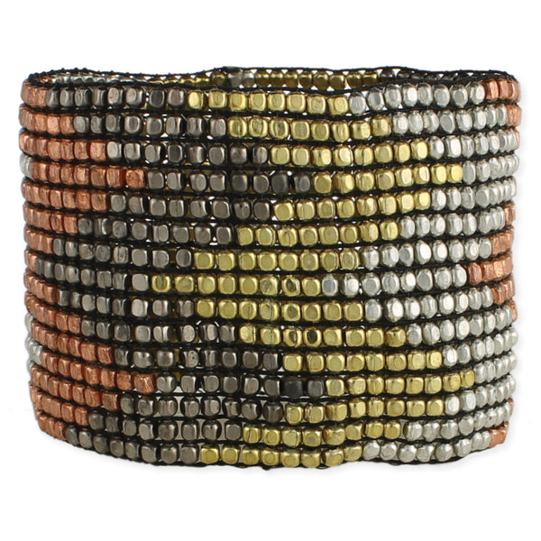 Wide Mixed Metal Bead Stretch Bracelet