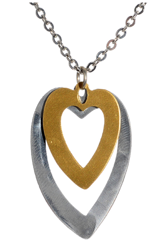 Mixed Metal Double Heart Pendant