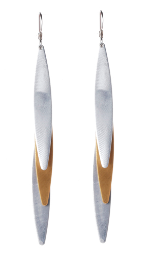 Mixed Metal Triple Elliptical Drop Earrings